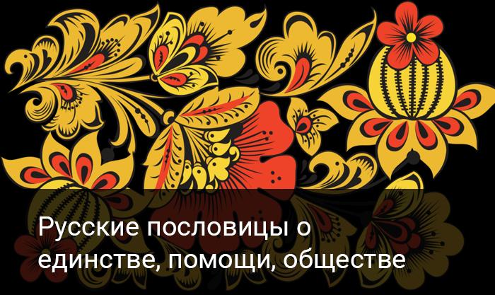 Русские пословицы о  единстве, помощи, обществе