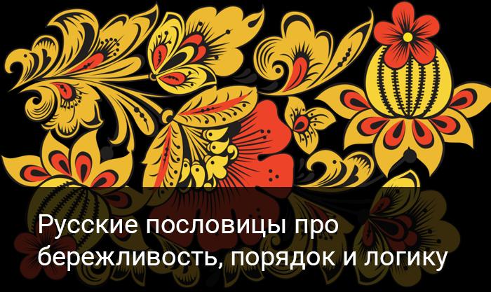 Русские пословицы про бережливость, порядок и логику