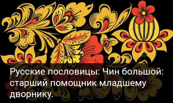 Русские пословицы: Чин большой:  старший помощник младшему  дворнику