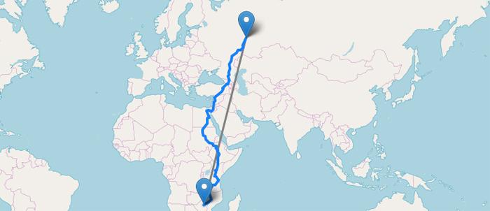 Как рассчитать расстояние между двумя городами?